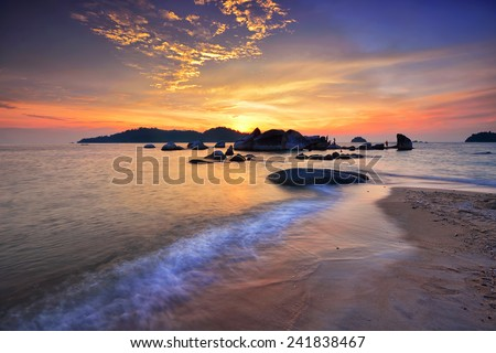 Beautiful seascape during sunset at Pangkor Island. Nature composition.
