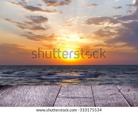 Beautiful Seascape Evening Sea Horizon And Sky. - stock photo