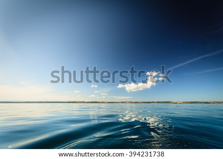 Beautiful seascape evening sea horizon and sky. Tranquil scene. Natural composition of nature. Landscape. - stock photo