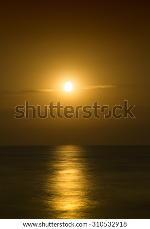 Beautiful seascape evening sea sunset horizon and sky. Tranquil scene. Natural composition of nature. Landscape. - stock photo