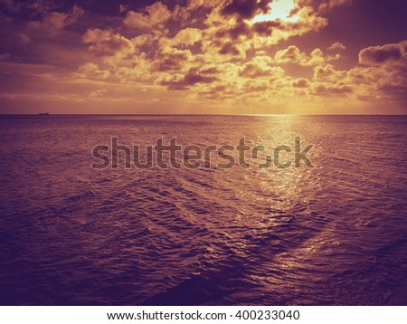 Beautiful seascape evening sea sunset or sunrise horizon and sky. Tranquil scene. Natural composition of nature. Landscape - stock photo