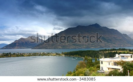 Beautiful seascape from new Zealand – queens town. - stock photo