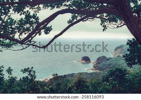 Beautiful seascape, island in the sea in summer seaso