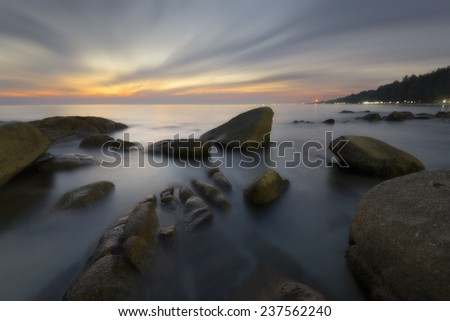 Beautiful seascape light Sunset Long exposure shooting technique - stock photo