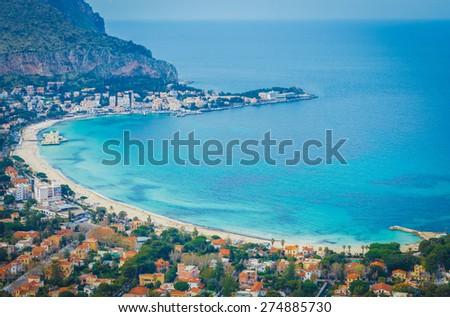 Beautiful seascape of Mondello, Palermo, Italy - stock photo