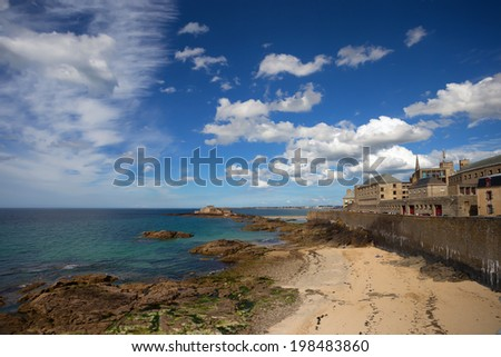 Beautiful seascape of Saint-Malo fortress, Brittany, France - stock photo