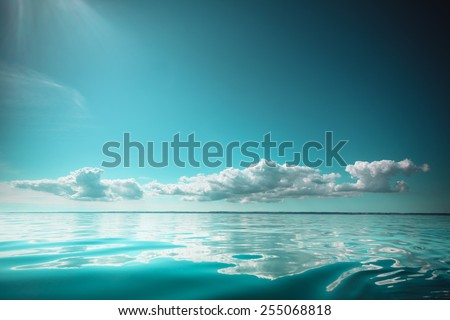 Beautiful seascape sea horizon and sky. Tranquil scene. Natural composition of nature. Beauty landscape. - stock photo