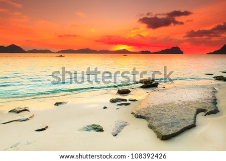Beautiful seascape. Stone on the foreground. Philippines