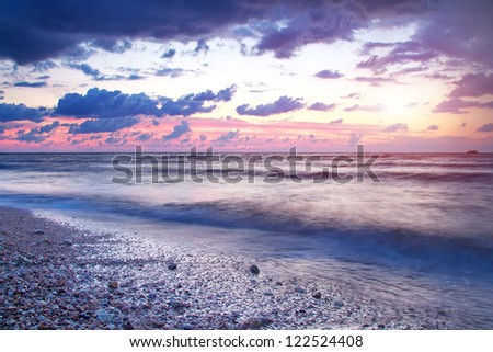 Beautiful seascape sunset. Composition of nature. - stock photo