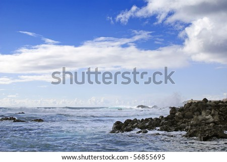 Beautiful Seascape taken at Easter Island in the Pacific Ocean. - stock photo