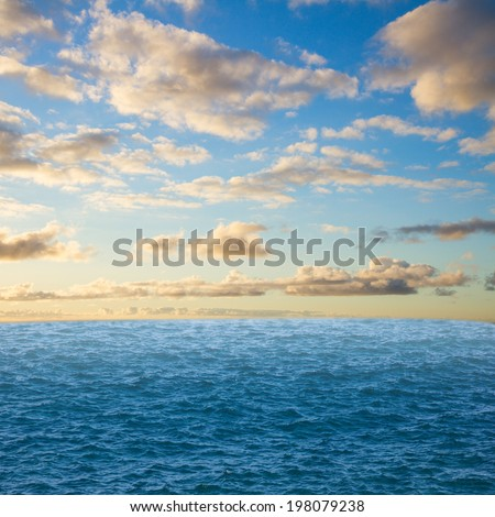 beautiful seascape with deep  ocean  waters and surise cloudscape - stock photo