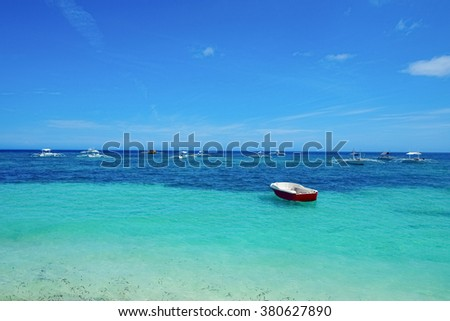 Beautiful seascape with many boats, Panglao, Philippines - stock photo