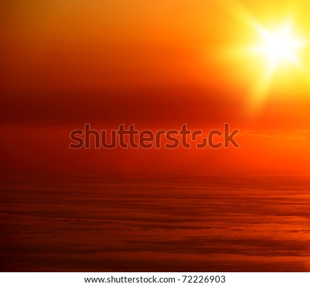 Beautiful seascape with orange warm sunset, vacation concept - stock photo