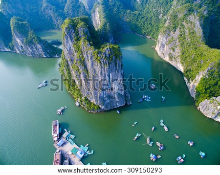 Beautiful seascape with sea and mountain from high view in Halong bay, Vietnam.