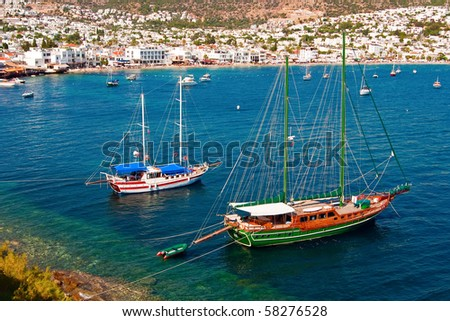 beautiful seascape with yachts in Bodrum, Turkey - stock photo