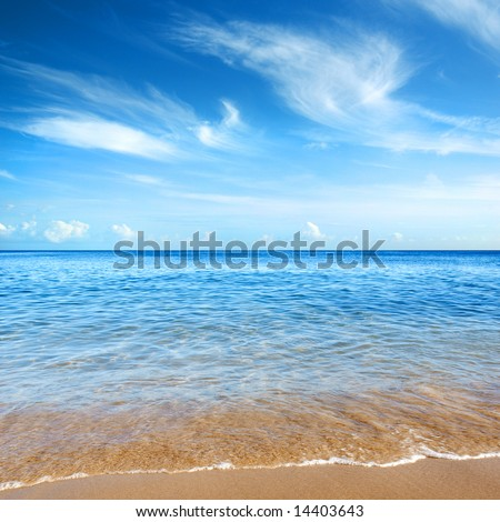 Beautiful seashore with calm cristal clear water - stock photo