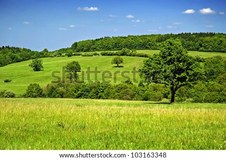 Beautiful secluded countryside in a clear-sky day in Czech republic. The Carpathian Mountains, - stock photo