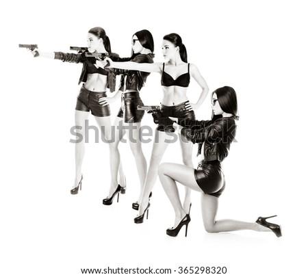 beautiful secret agent girls team with handguns isolated on white - stock photo