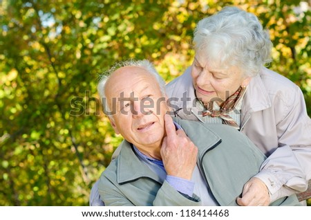 Beautiful senior couple in the park