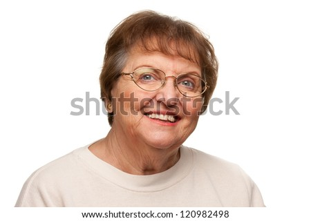 Beautiful Senior Woman Portrait Isolated on a White Background. - stock photo