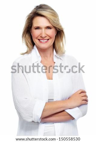 Beautiful senior woman portrait. Isolated on white background. - stock photo
