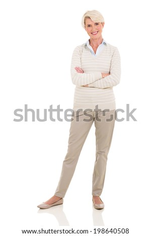 beautiful senior woman posing on white background - stock photo