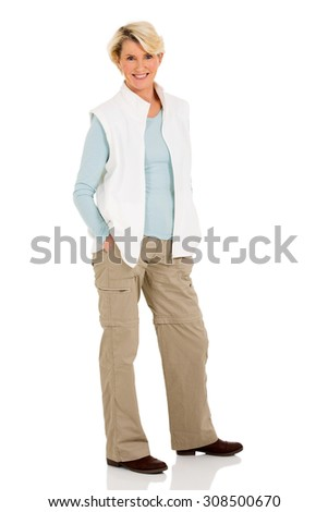 beautiful senior woman posing on white background - stock photo
