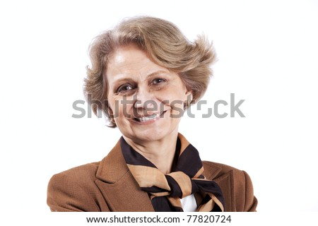 Beautiful senior woman smiling (isolated on white) - stock photo
