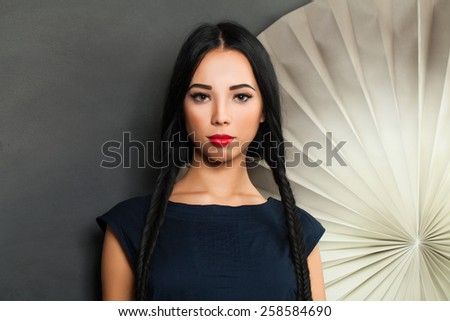 Beautiful sensual brunette woman - stock photo