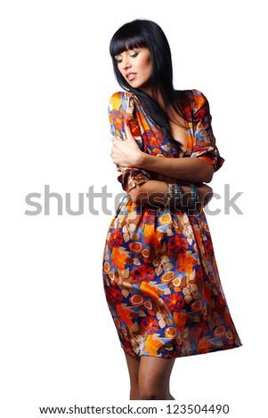 Beautiful sensual woman posing isolated on white background - stock photo