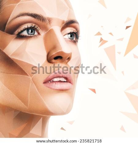 beautiful sensual woman with bodyart and geometric pattern - stock photo