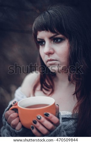 naked girl with a coffee