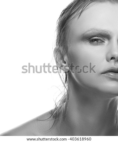 Beautiful sensuality elegance caucasian lady face woman, green eyes, blonde hair, sexy lips, kissed effect lips. Studio portrait.  - stock photo