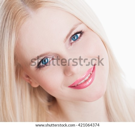 Beautiful sensuality elegance lady face woman, has blue eyes, blonde hair, sexy pink lips, white teeth. Studio portrait.  Nature romantic pure makeup. White background.  - stock photo
