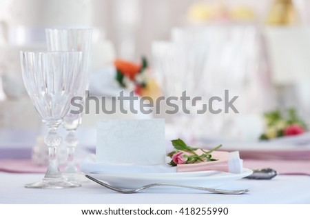 Beautiful served table for wedding or other celebration in restaurant - stock photo