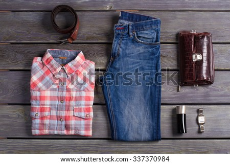 Beautiful set of clothes the stylish man. Casual wear. - stock photo