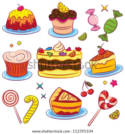 Beautiful set of colorful cakes icons isolated on white