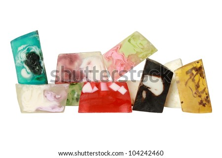 Beautiful set of many different handmade soap. With clipping path - stock photo