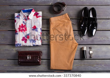 Beautiful set of men's clothing. Apparel & Accessories. - stock photo