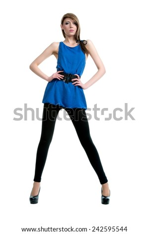 Beautiful sexual girl brunette pose on white background - stock photo
