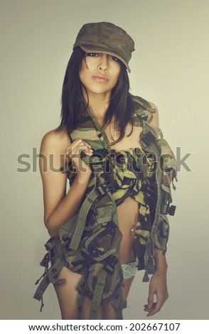Beautiful sexy army military young woman