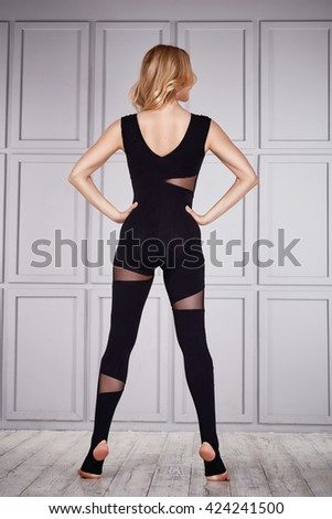 Beautiful sexy blond woman wear casual comfort clothes for gym exercise fitness gymnastic dance ballet perfect body shape athletic catalog collection clothes for profession sport healthy life style - stock photo