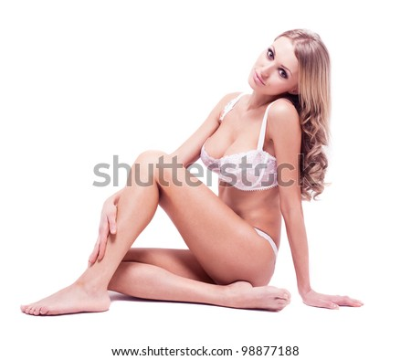 beautiful sexy blond woman wearing underwear, isolated on white  studio background - stock photo