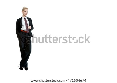 Beautiful sexy blonde girl in business dress posing on a white background isolated