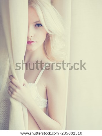 beautiful sexy blonde in underwear - stock photo