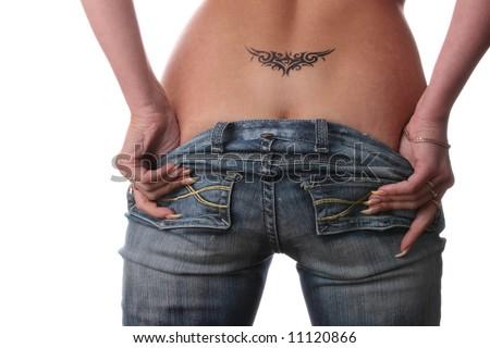 Beautiful, sexy bottom with tattoo - stock photo