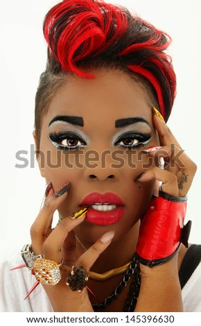 Beautiful Sexy Colorful Black Woman Face, Manicure, Designer Nails - stock photo