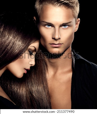 Beautiful sexy couple portrait. Model man with his girlfriend posing together. Passion  - stock photo