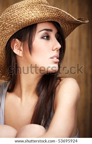 Beautiful Sexy  Cowgirl - stock photo