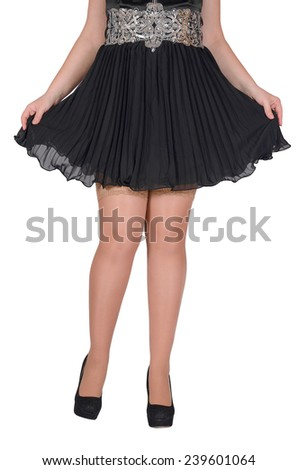 Beautiful sexy female legs in white transparent stocking and black shoes on a white background - stock photo